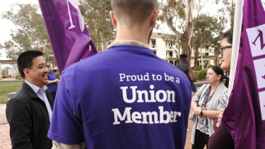 Staff at the University of Canberra walked off the job on Wednesday afternoon in the first strike on campus in more than a decade.