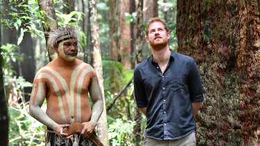 Britain's Prince Harry (right), the Duke of Sussex, is seen with Fred Bulanyu Leone at Pile Valley on Fraser Island in October 2018.