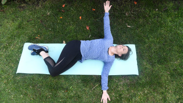 Stretches and gentle exercise prescribed by a physio have Stephanie Haddad on the road to recovery.