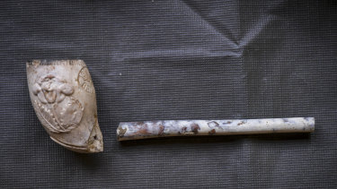 A pipe discovered in the Swanston Street dig.