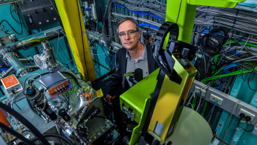 Michael James is using the synchrotron to do crystallography - shooting super-high-purity light at tiny crystals - to image how antibody therapies stick to the virus that causes COVID-19.