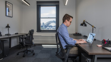 The author working out of one of Hub Australia's private offices.