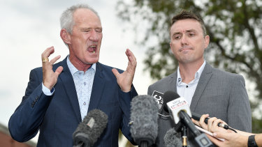 One Nation officials Steve Dickson and James Ashby answer questions at a press conference in Brisbane.