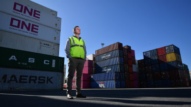 Australian Container Freight Service general manager Damian Arnold at the company's West Melbourne container park at Appleton Dock Road, which is set to overflow during the COVID-19 pandemic.