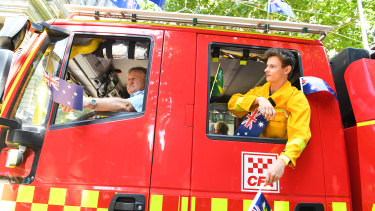 Mallacoota CFA volunteers in the Australia Day parade.