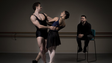 We are all Spartacus: Choreographer Lucas Jervies, right, looks on as Kevin Jackson and Robyn Hendricks regearse a scene.