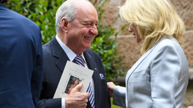 Alan Jones and Kerri-Anne Kennerley attend the funeral service for Caroline Laws at St Mark's Church.