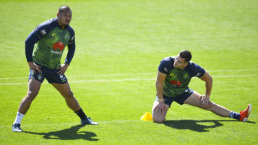 Joseph Leilua and Nick Cotric at Raiders training on Tuesday.