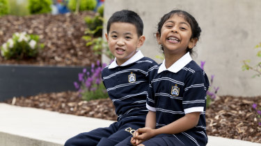 Caulfield Grammar School students in their new gender-neutral uniforms.