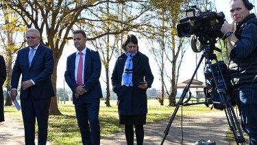 Prime Minister Scott Morrison, Transport Minister Andrew Constance and NSW Premier Gladys Berejiklian in Sydney on Monday