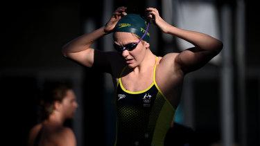 Game face ... Rising Australian swimming star Ariarne Titmus.