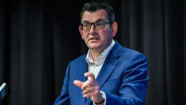 Premier Daniel Andrews announces the five-day lockdown at a press conference on Friday.