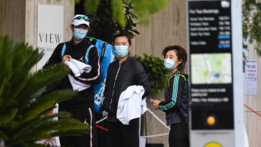 Tennis players in quarantine at the View Melbourne hotel were allowed out to train on Tuesday.