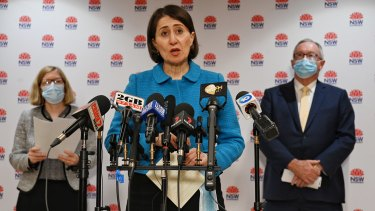 This week on COVID: Press Conference. Premier Gladys Berejiklian joined by fellow cast members, NSW Chief Health Officer Kerry Chant and Health Minister Brad Hazzard.