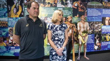 Dave Rennie and wife Steph at the coach's official welcome to the Wallabies in January.