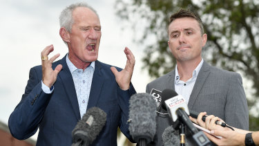 One Nation party officials Steve Dickson (left) and James Ashby field questions during a press conference in Brisbane.