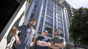 Luke Skidmore, Craig Cochrane and Andrea Ceriani are opposed to plans to replace Melbourne House with a 23-storey hotel.