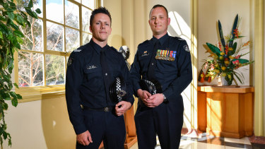 Mark Hall (left) and Andrew Vallas are to be presented with Valour Awards for their encounter with a gunman in 2016.