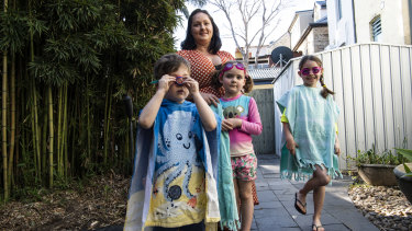 Emma Baldwin, pictured with her children Lucas, Eloise and Leyla, said COVID-19 and lockdowns have impacted swim lessons.