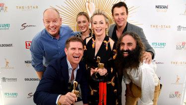 Gold Logie nominees (left to right) Tom Gleeson, Sam Mac, Eve Morey, Amanda Keller, Rodger Corser and Costa Georgiadis.