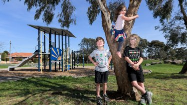 Rocco, 9, Reggie, 7, and Evie Moesch, 4, are among those excited for playgrounds to reopen at 11.59pm on Thursday.