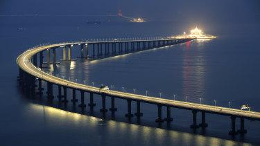The Hong Kong-Zhuhai-Macau Bridge is lit up in Hong Kong.
