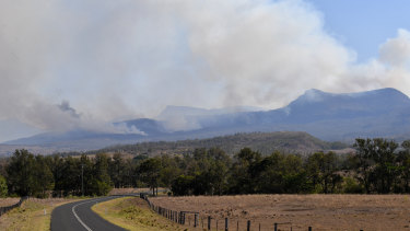 Fires in the Main Range National Park near Tarome in the Scenic Rim, south west of Brisbane, on Thursday.