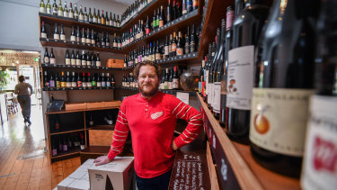 Tim Cohen, owner of Brunswick East Wine Store in Lygon Street.