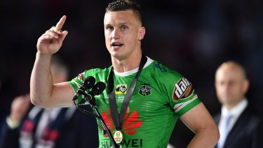 Uncomfortably numb: Jack Wighton accepts the Clive Churchill Medal.
