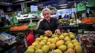 "Diego ""Danny"" Luppino at his fruit stall at Dandenong market."