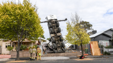 MFB crews are on scene to try and stand the crane back up.