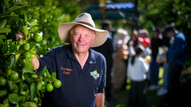 Len Rayner at his farm in Woori Yallock with Easter Monday visitors.