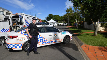 Police kept a tight cordon around a section of Delfin Drive as they gathered evidence.