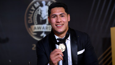 """""""I feel truly blessed to be holding this trophy"""": Warriors captain Roger Tuivasa-Sheck."""