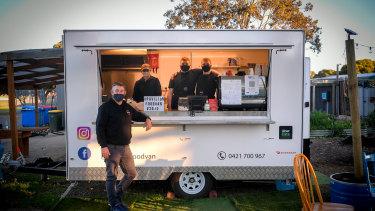 Pavilion Food Van instructor Ash Cavigan (front) with students Ebony Vecchio, Zach Rutter and Jack Rutter.