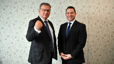 FFA chairman Chris Nikou and chief executive James Johnson are the men tasked with reviving the fortunes of the round-ball game in Australia.