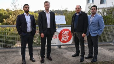 """Eastern suburbs Young Liberal president Patrick Moore (second from left), pictured with fellow Liberal party members  Joshua Moses, Daniel Rosenfeld and Harry Stavrinos, said Meriton's proposal was """"completely incongruous"""" with the area."""