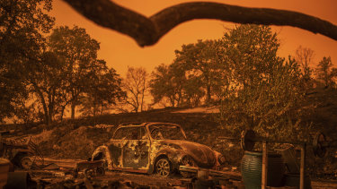 A Volkswagen Beetle scorched by the Carr Fire rests at a residence in Redding, California.