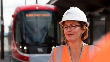 """Transport Minister Meegan Fitzharris, pictured above, said in a """"perfect world"""" planning rules for Northbourne Avenue would have been finalised before the light rail was built."""