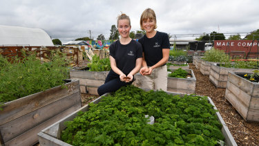 Reground director Kaitlin Reid (left) and founder Ninna Larsen expect to collect one tonne of coffee grounds from the Australian Open.
