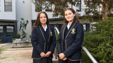 Catholic Ladies College students  Evangeline Hurrel and Kirra Johnston.