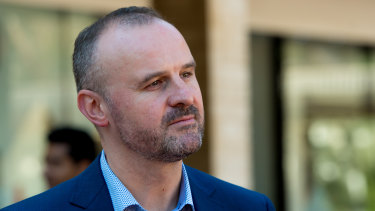 """If you are here from Sydney or any of the other hotspots, you should not be here and you risk an $8000 fine,"" says ACT Chief Minister Andrew Barr."