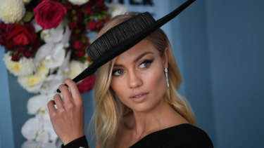 Elyse Knowles is seen at the Myer Fashions on the Field during Derby Day 2018.