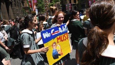 Thousands of students  protested in Sydney's Martin Place against the government's inaction on climate change.