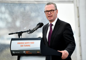 Minister for Defence Christopher Pyne during a visit to the submarine construction yard at Osborne, Adelaide in December.