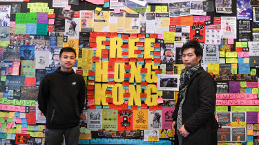 A poster wall covered in messages supporting democracy in Hong Kong at the University of Technology, Sydney.