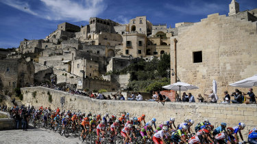 The Giro d'Italia pedals along the ancient city of Matera in southern Italy.