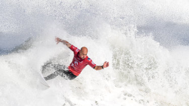 World Surfing League Rip Curl Pro at Bells Beach. Kelly Slater (USA) v Peterson Crisanto (Brasil) in round 4, in 2019.