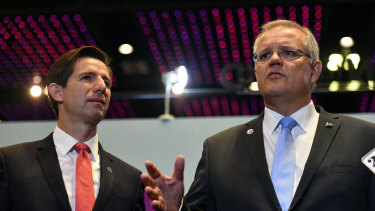 Minister for Trade Simon Birmingham and Prime Minister Scott Morrison at a press conference.