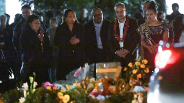 Representatives from the Pacific Islander community spoke and gave prayers during the hour-long ceremony.